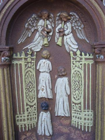 """I believe in … the Communion of Saints….and life everlating. Amen."" The Feast of All Saints on November 1 and the Commemoration of All Souls on November 2 remind us of these tenants of our Faith, expressed in The Apostles Creed and depicted in symbols on the right side of the main doors to our church. In the words of Pope Paul VI: ""We believe in the communion of all the faithful of Christ, those who are pilgrims on earth, the dead who are being purified and the blessed in heaven, all together forming one Church; and we believe that in this communion, the merciful love of God and his saints is always [attentive] to our prayers."""
