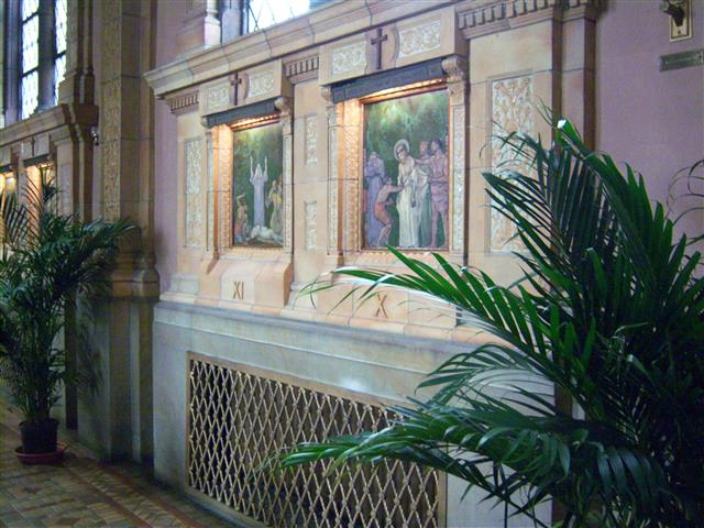 Stations of the Cross, right side aisle. Photo credit: Margaret Dick