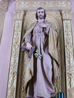 "Feast of St. Joseph, Patron of the Universal Church and the Diocese of Buffalo, March 19.Photo is of the Shrine to St. Joseph to the left of the Sanctuary. The niche surrounding the statue ""is one of the exquisite ceramic creations in the church."" (Rev. Walter Kern's ""Guide to Blessed Trinity R. C. Church,"" page 45. Photo by Margaret Dick)."
