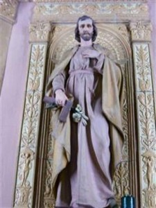 "Feast of St. Joseph, Patron of the Universal Church and the Diocese of Buffalo, March 19. Photo is of the Shrine to St. Joseph to the left of the Sanctuary. The niche surrounding the statue ""is one of the exquisite ceramic creations in the church."" (Rev. Walter Kern's ""Guide to Blessed Trinity R. C. Church,"" page 45. Photo by Margaret Dick)."