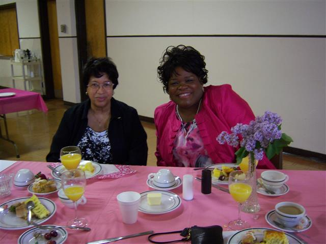 Guests are all smiles at the annual Mother's Day Breakfast hosted by the parish Holy Name Society. Photo Credit: Margaret Dick.