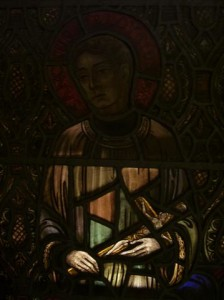 St. Aloysius Gonzaga  June 21  An artist's impression of St. Aloysius Gonzaga appears in stained glass in the Shrine Area in the church's right (west) transept. He is one of four saints depicted in the two Shrine Areas, each representing a period of life. St. Aloysius who lived from 1568-1591 is the young adult saint and patron of youthful chastity. (Rev. Walter Kern's Guidebook to Blessed Trinity R.C. Church, page 27).