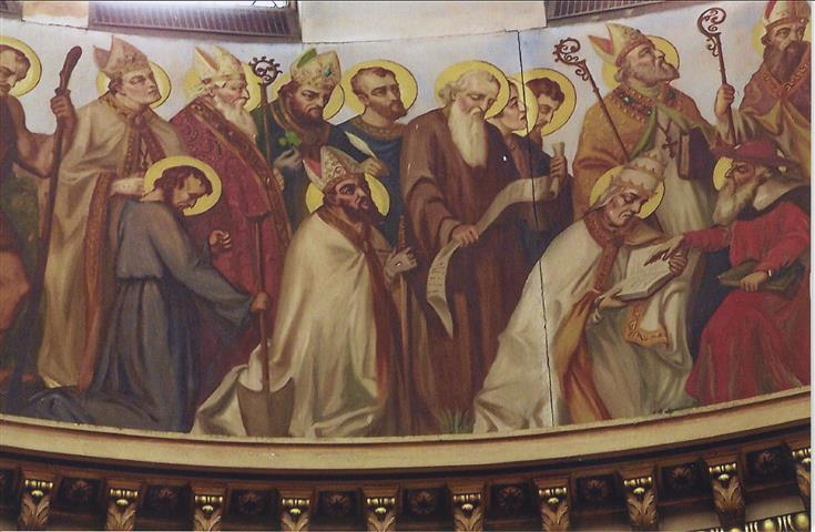 "St. Augustine of Hippo (354-439), whose feastday we celebrate on August 28, appears in the dome of our church in a painting by Buffalo-born artist Joseph Mazur. He is depicted standing at the far right in this photo and is part of a group of 14 figures identified as ""Confessors, Bishops, and Missionaries.""  (Rev. Walter Kern's ""Guidebook to Blessed Trinity R. C. Church,"" p. 39. Photo credit: Duane Held."