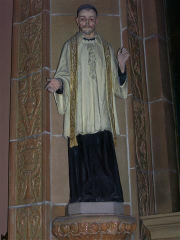 "The Church celebrates the feast of St. Vincent de Paul (1580-1660), ""champion of the poor and patron of practical charity to the needy,"" on September 27. This statue of St. Vincent is located in the left side aisle in the church nave."