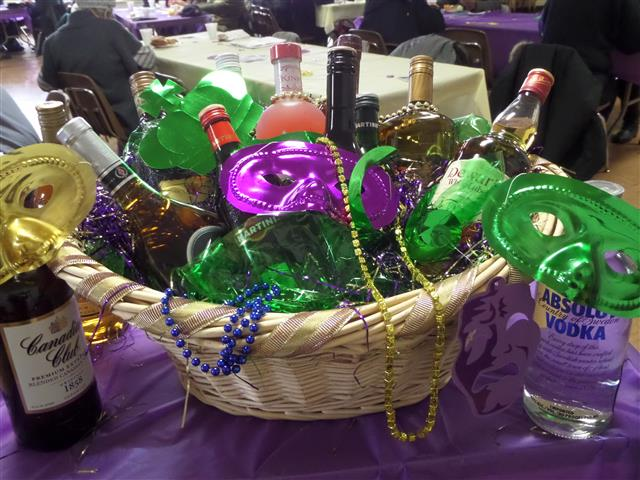 Our 2014 Basket of Cheer, courtesy  of Hertel Parker Liquor.