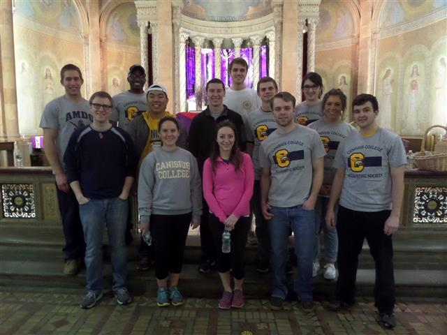 Volunteers from Canisius College who helped to prepared our church for Holy Week.