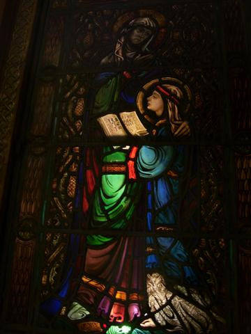 The child Mary, with her mother, St. Anne. Stained glass window in the Shrine area - left (east) transept