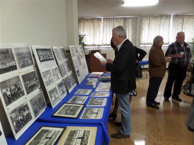Class photos on display at the Alumni Sunday reception.