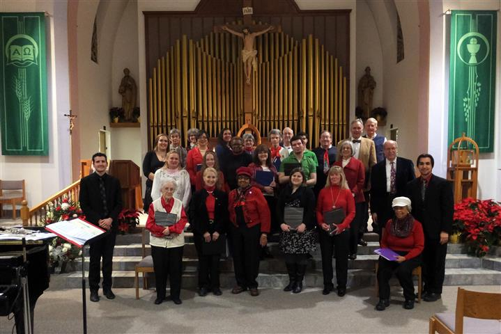 Combined choirs of Blessed Trinity and Our Lady of Pompeii in concert at Our Lady of Pompeii, January 16, 2015. Photo credit: Bud Dick