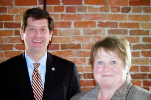 "Paula Hunt, pictured here with County Executive Mark Poloncarz when she received her ""Unsung Hero Award"" at the Homeless Alliance Luncheon in February."