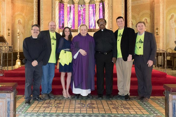 Mass Mob team joins Rev. George Reger and Deacon Jimmie Boyd at Blessed Trinity