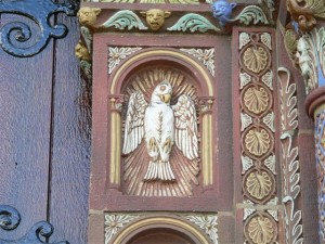 Holy Spirit as depicted in iconography on church facade. Photo credit: Gary Kelley