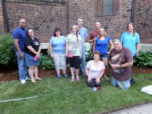 Gardening volunteers from the Buffalo Underground Meetup Group