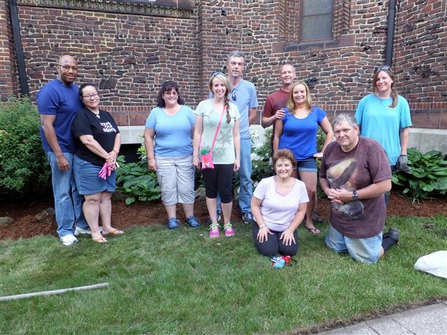 Gardening volunteers from the Buffalo Underground Meetup Group