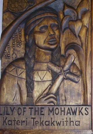 Saint Kateri Tekakwitha July 14 On October 21, 2012, Blessed Kateri became the first Native American to be canonized. Woodcarving, gift of the Southtowns Woodcarvers of WNY Right (West) Transept Wall