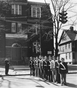 "Rev. Charles Kraehn and a contingent of BTS ""Patrol Boys"" in the 1950s."