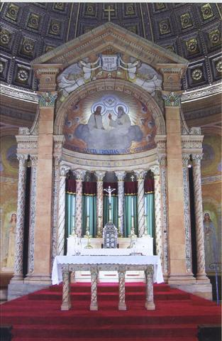 Our Altar of Sacrifice (foreground) contains a relic of St. Isaac Jogues and is dedicated to the Jesuit martyr and missionary to NY State and his companions. The Church commemorates their lives in a single celebration on October 19. Photo credit: Duane Held.