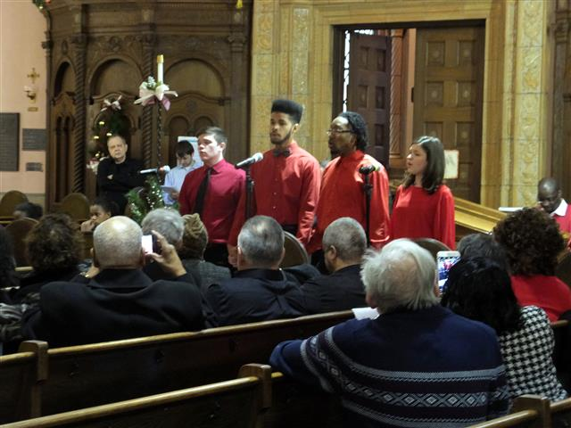 "Ss. Columba-Brigid Quartet performs at ""Christmas in the City"" Photo credit: Margaret Dick"