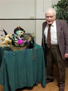 Ed Marien posed happily with his Basket of Cheer.