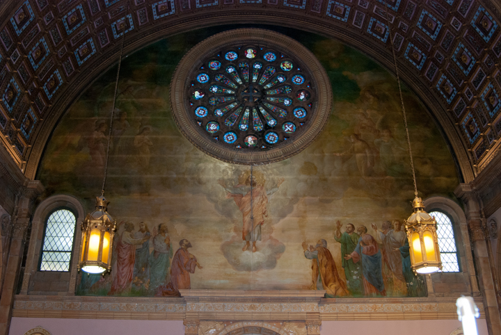 The Ascension of the Lord May 5, 2016 Oil on canvas painting of the Ascension of Christ by Joseph Mazur in the right transept of the church. Phot credit: Steve Mangione