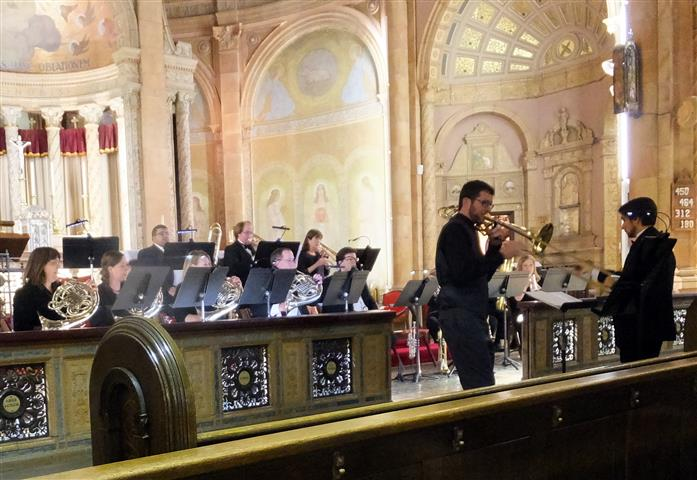 """Featured soloist Tim Smith, Second Trombone with the BPO, performs """"Andante con moto"""" from James Kazik's """"Conerto for Tenor Trombone and Brass Ensemble"""" at BT. Photo credit: Margaret Dick"""