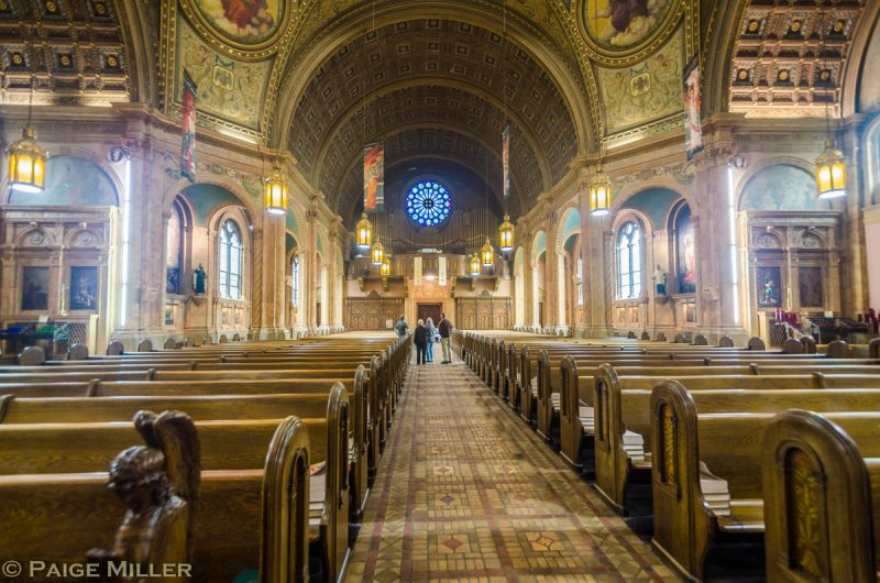 Photo of church transept and nave looking from Sanctuary down the main aisle, taken by Open House visitor Paige Miller.