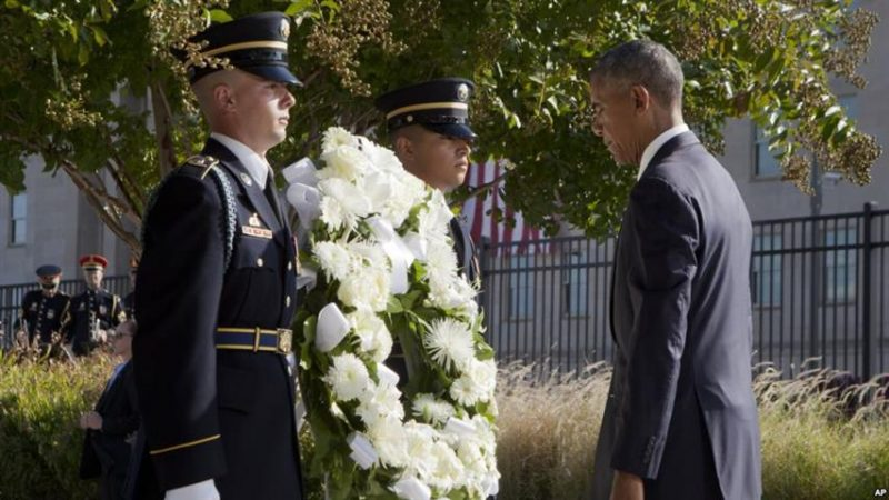 President Barack Obama at the Pentagon, Sunday, Sept. 11, 2016. Memorial observance commemorating the 15th anniversary of the 9/11 terrorist attacks. Associate Press photo.