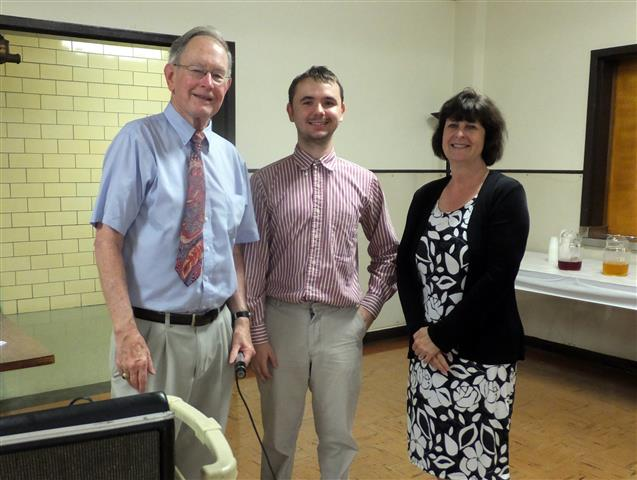 And the winners are ... Nik Brodfuehrer (center) and Denise Moll Lanz, shown here with raffle chair Jerry Powers.