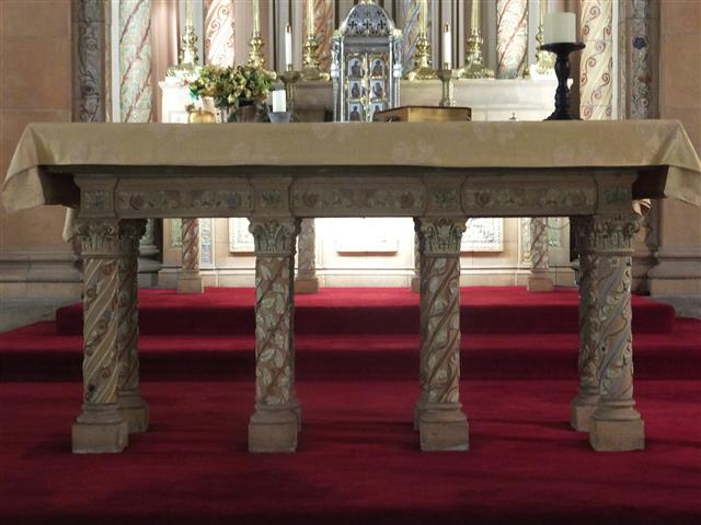 The Altar of Sacrifice at Blessed Trinity is dedicated to St. Isaac Jogues and his companions, Jesuit martyrs who are commemorated in a single celebration on October 19. A relic of St. Isaac Jogues is one of several placed in the altar when it was consecrated by Bishop Edward D. Head on June 2, 1976..
