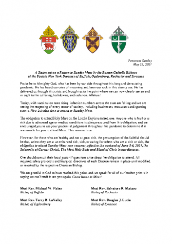 Upstate Dioceses re: Mass