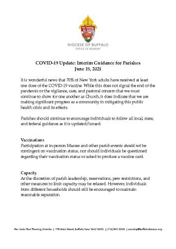 Diocese re: COVID-19 precautions